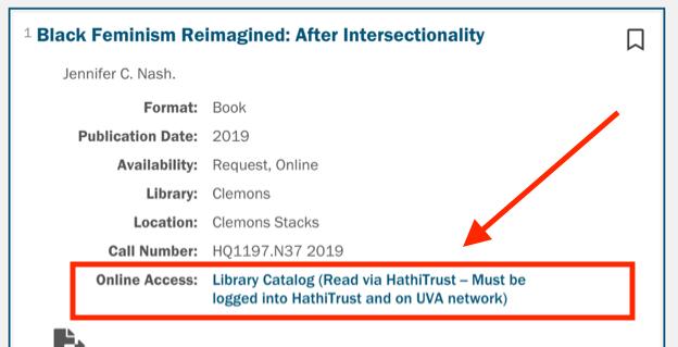 Arrow pointing to Online Access: Library Catalog (read online through HathiTrust)