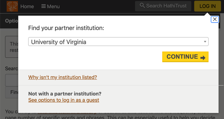 Screen shot showing pop-up box with University of Virginia and continue button
